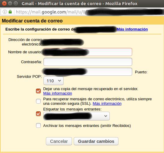 configurar correo gmail servidor plesk