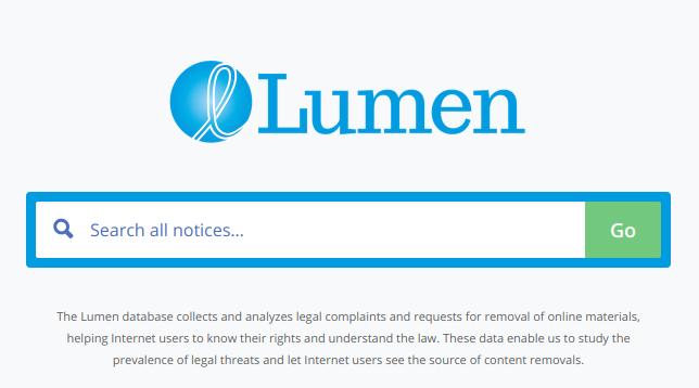 Lumen database web para denunciar plagios